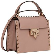 VALENTINO Casual Style Studded Plain Leather Party Style Elegant Style