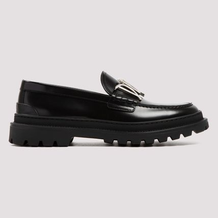Christian Dior Plain Toe Loafers Plain Leather Logo Loafers & Slip-ons