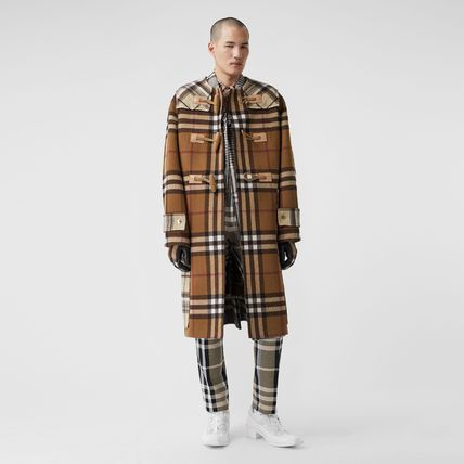 Burberry Other Plaid Patterns Wool Long Street Style Duffle Coats