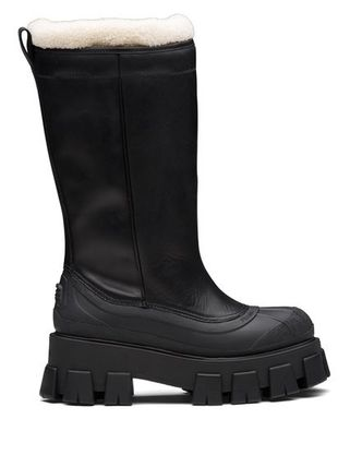 PRADA Mountain Boots Rubber Sole Casual Style Fur Street Style
