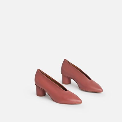 Casual Style Plain Leather Office Style Pumps & Mules