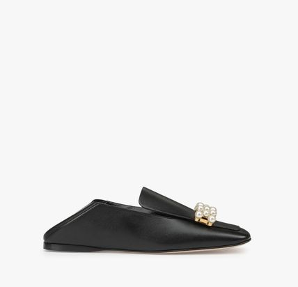 Square Toe Casual Style Plain Leather With Jewels