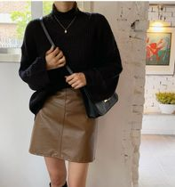 Short Faux Fur Plain Mini Skirts