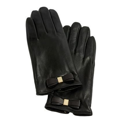 TED BAKER Plain Leather Logo Leather & Faux Leather Gloves
