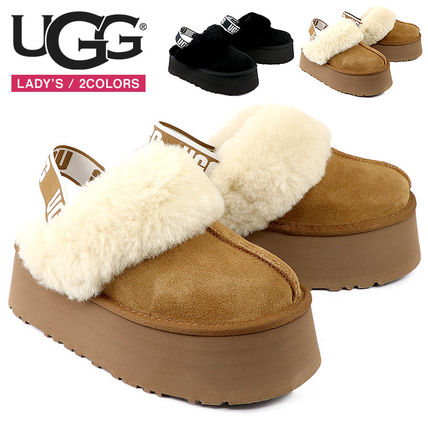 Casual Style Sheepskin Suede Plain Slippers Sandals