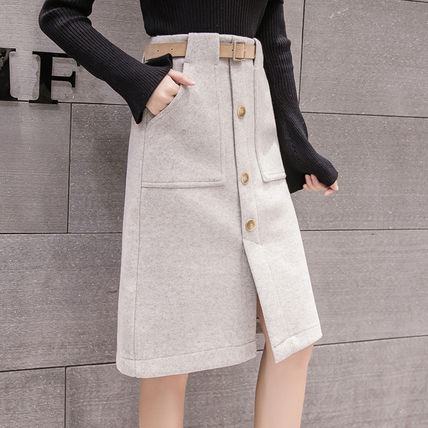 Pencil Skirts Casual Style Wool Plain Medium Front Button