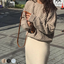 Crew Neck Cable Knit Casual Style Long Sleeves Plain Cotton