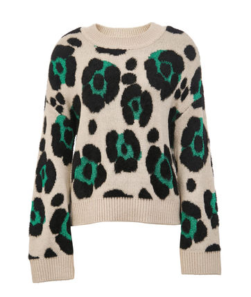 Crew Neck Short Leopard Patterns Casual Style Long Sleeves
