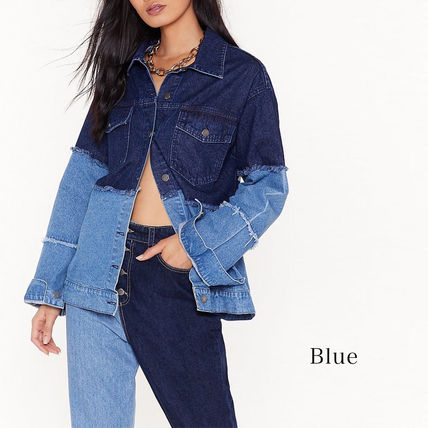 Casual Style Denim Long Sleeves Plain Long Oversized