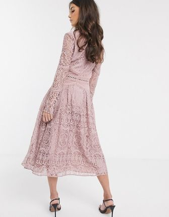 ASOS U-Neck Long Sleeves Plain Medium Long Party Style Lace