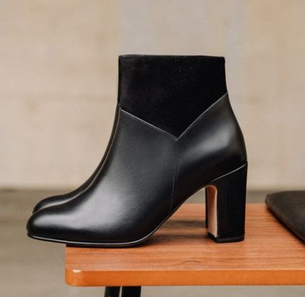 Suede Plain Leather Block Heels Office Style Elegant Style
