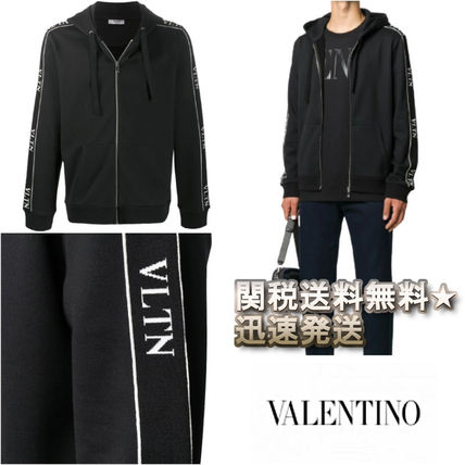 VALENTINO Hoodies Nylon Street Style Long Sleeves Plain Cotton