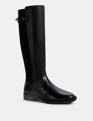 Coach Casual Style Plain Leather Elegant Style Flat Boots