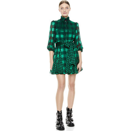 Gingham Other Plaid Patterns A-line Silk Cropped Medium