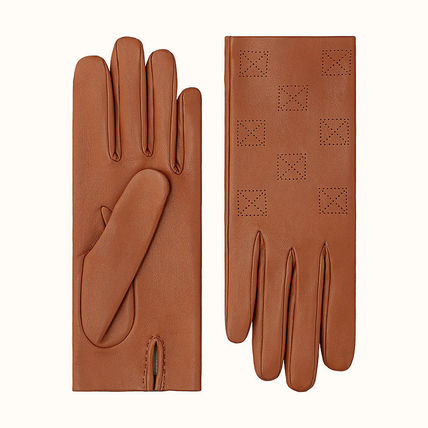 HERMES Unisex Leather Logo Leather & Faux Leather Gloves