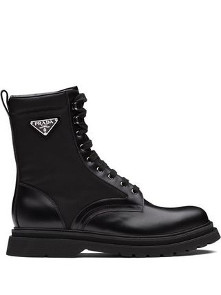 PRADA Mountain Boots Rubber Sole Lace-up Casual Style Street Style