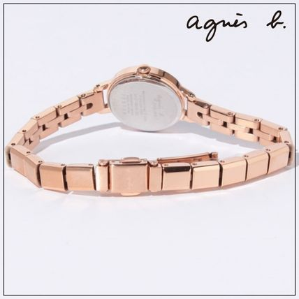 Agnes b Round Party Style Quartz Watches Stainless Office Style