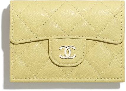 CHANEL MATELASSE Monogram Blended Fabrics Plain Leather Folding Wallet
