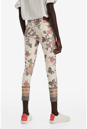 Desigual Flower Patterns Casual Style Long Skinny Pants