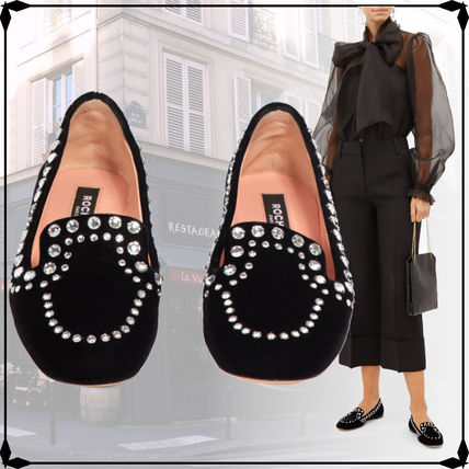 Square Toe Casual Style Plain With Jewels Elegant Style