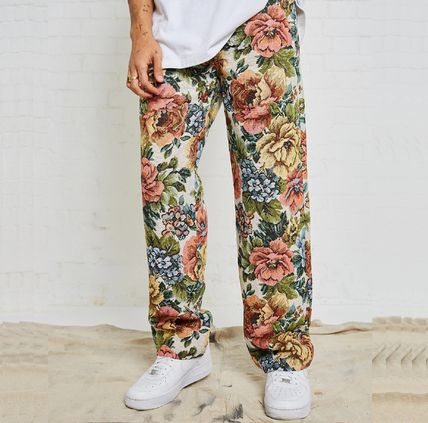 Flower Patterns Street Style Cotton Jeans