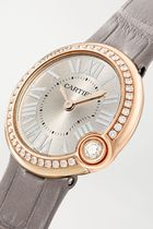 Cartier Leather Round Quartz Watches Jewelry Watches 18K Gold