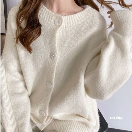 Cable Knit Casual Style Nylon Long Sleeves Plain Medium