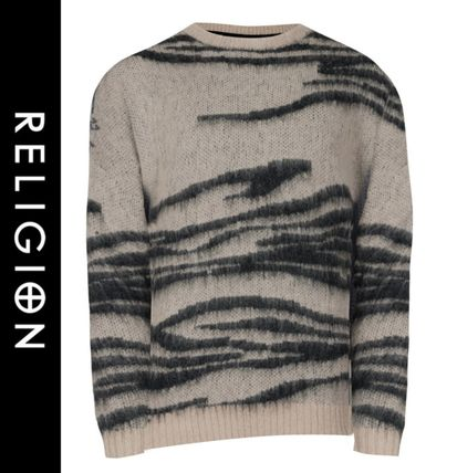 Wool Street Style Long Sleeves Other Animal Patterns