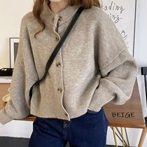 Cable Knit Casual Style Wool Nylon Street Style Long Sleeves