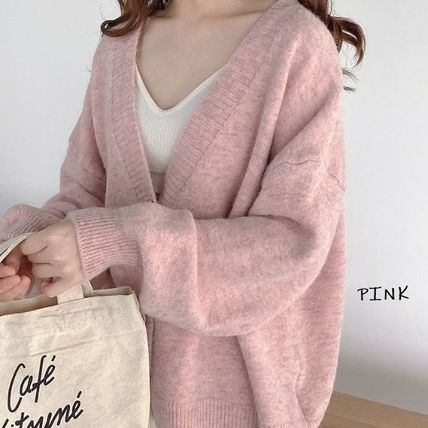 Cable Knit Casual Style Wool Rib Long Sleeves Plain Cotton