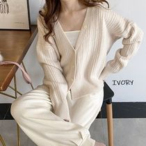 Cable Knit Casual Style Wool Nylon Rib Long Sleeves Plain