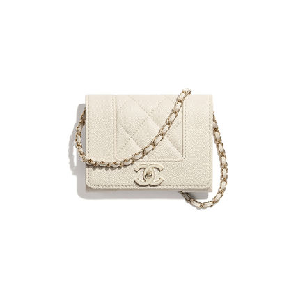 CHANEL Casual Style Unisex Lambskin Chain Plain Leather Party Style