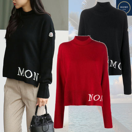MONCLER Wool Cashmere Long Sleeves Logos on the Sleeves Logo