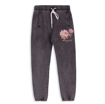Printed Pants Flower Patterns Sweat Blended Fabrics