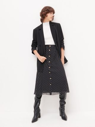 Flared Skirts Dots Casual Style Medium Office Style
