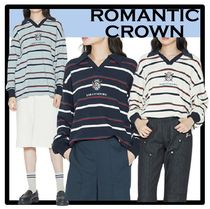 ROMANTIC CROWN Casual Style Unisex Street Style Polos
