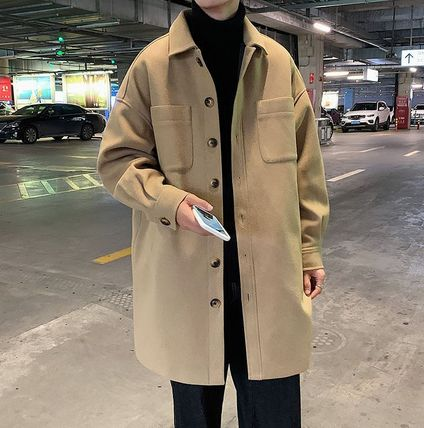 Short Plain Front Button Peacoats Coats