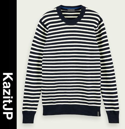 Pullovers Stripes Wool Long Sleeves Surf Style Sweaters