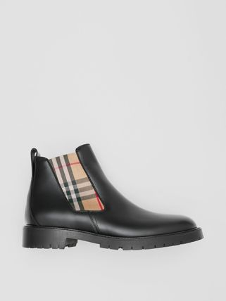 Burberry Logo Other Plaid Patterns Street Style Boots