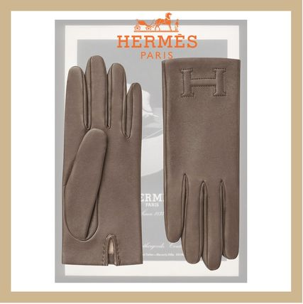 HERMES Suede Leather Logo Leather & Faux Leather Gloves