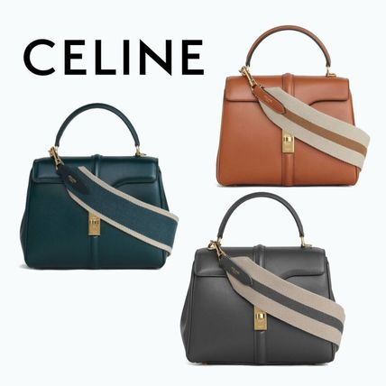 CELINE Calfskin Bi-color Leather Crossbody Logo Shoulder Bags