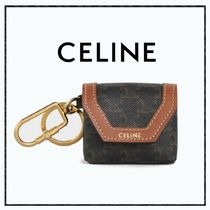 CELINE Triomphe Canvas Envelop Airpods Keyring In Triomphe Canvas And Calfskin