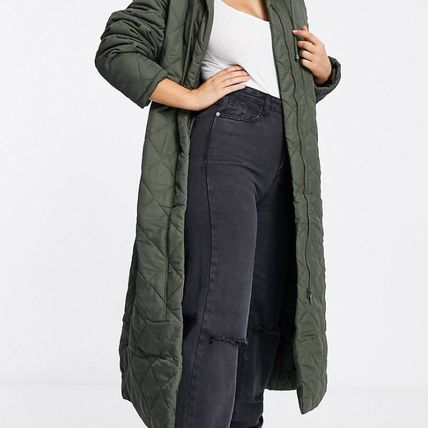 Plain Long Oversized Khaki Military Down Jackets