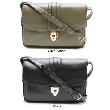 Casual Style Plain Leather Office Style Crossbody