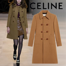 CELINE Casual Style Wool Blended Fabrics Plain Long Office Style