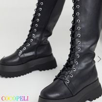 ASOS Round Toe Lace-up Casual Style Faux Fur Plain Lace-up Boots