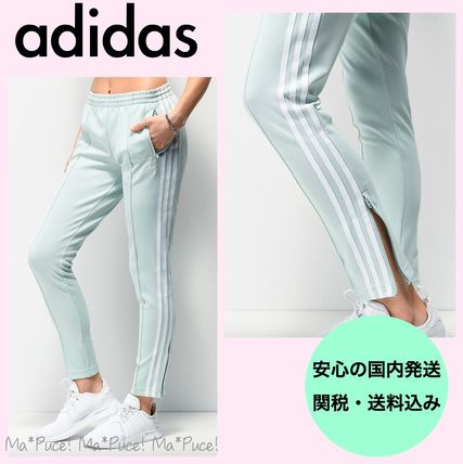 adidas Stripes Street Style Plain Cotton Long Logo Skinny Pants