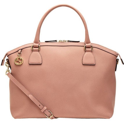 GUCCI Casual Style A4 2WAY Plain Leather Party Style Office Style