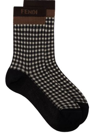 FENDI Gingham Cotton Logo Socks & Tights