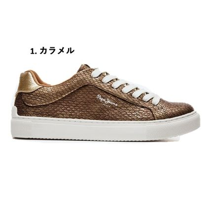 Rubber Sole Casual Style Street Style Bi-color Leather